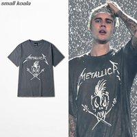 erkekler rulo şort toptan satış-Justin Bieber Metallica Kafatası Kaya Ve Rulo 2016 Yaz Yeni Marka T-shirt Adam Kadın Rahat Kısa Kollu T Gömlek Üst Tee C19040301