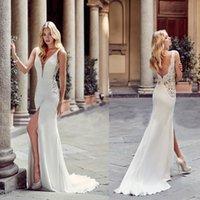 Wholesale greek lace wedding dress for sale - Group buy 2019 Sexy Greek Fashion Sheath Wedding Dresses Deep V Neck Front Split Backless Bridal Gowns Bride Beach Party Wear