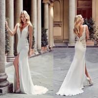 griechische spitze großhandel-2019 Sexy Griechische Mode Mantel Brautkleider Tiefem V-ausschnitt Vorne Split Backless Brautkleider Braut Beach Party Wear