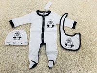 Wholesale baby long sleeve romper pattern for sale - Group buy Brand Baby Boys Duckling cartoon Rompers Designer Long Sleeve Jumpsuits wave pattern Infant Letter Cotton Romper Boy Clothing New Fashion