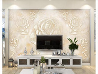geflieste tapeten großhandel-Benutzerdefinierte 3D Silk Fototapete Europäischen marmorfliese TV sofa hintergrund wandrelief wandbild wandaufkleber für wände