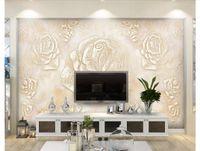 fotos de azulejos al por mayor-Personalizado Seda 3D Foto Mural Papel pintado Mármol europeo azulejo TV Fondo de pared alivio mural etiqueta de la pared papel tapiz para paredes 3d