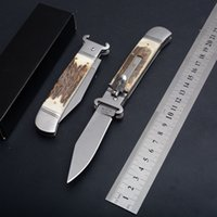 Wholesale Automatic Folding POcket Knife Antler Handle Tactical Hunting Knives EDC Survival Gear