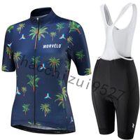 ciclismo bicicleta jersey pantalones cortos mujeres al por mayor-2019 Morvelo Summer Pro Team Manga Corta Mujer Ciclismo Jersey Bib Shorts Set Ropa de Bicicleta Ropa Ciclismo Kits de Ropa de Bicicleta