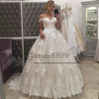 Wholesale womens backless formal dresses for sale - Group buy Modest Sheer jewel Neck Ivory Wedding Dresses Lace Short Sleeves covered buttons back Bridal Gown Dubai Arabic Womens Formal Dress for Event