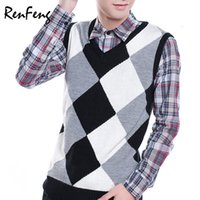 мужской свитер v шея вязать оптовых- Clothing Pullover Sweater Men Autumn V Neck Slim Wool Knit Vest Sweaters Sleeveless Men's Warm plaid Sweater knitwear