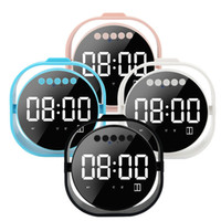 Wholesale mp3 player alarm clock resale online - Clock Bluetooth Portable Speaker Mirror LED Display Wireless Loudspeaker Alarm Clocks Super Bass Stereo MP3 Player HIfii Soundbox