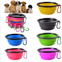 Travel Collapsible Dog Cat Feeding Bowl Two Styles Pet Water Dish Feeder Silicone Foldable Bowl With Hook 18 Styles To Choose EEA743