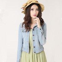 artı kısa kollu hırka toptan satış-Bahar Kadınlar Denim Ceket Plus Size S-4XL Vintage Kırpılmış Kısa Denim Ceket Uzun Kol Coat Hırka Işık / Derin Mavi