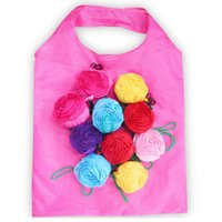 bolso de compras reutilizable al por mayor-Bolsa de compras plegable rosa Flor 3D plegable reutilizable ECO amigable bolsa de hombro bolsa plegable bolsas de almacenamiento HHA636