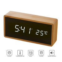 Wholesale sound acoustic for sale - Group buy Bamboo Wooden Mirror Alarm Clocks Temperature Sounds Control Desktop Clock With Digital Watch Electronic LED Clocks Despertador