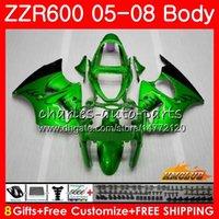 satılık zx kaplama toptan satış-KAWASAKI NINJA 600 CC Için OEM Fairings ZZR600 ZX 600CC 38HC.117 ZZR-600 ZZR 600 05 06 07 08 2005 2006 2007 2008 ABS Karnın seti yeşil sıcak satış