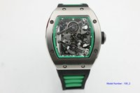 Wholesale hand bands sport resale online - hot sell Man rm038 watch rubber band black dial wacth silver case Automatic machinery green circle watch