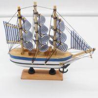 holzboot schiff modell großhandel-Nautische Holz Segelboot Schiff Holz Handwerk handgemachte Retro Schiffsmodell Holz Dekoration Segelboot Geburtstagsgeschenk Kinder Home Decor
