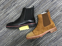 sapatos de couro nubuck venda por atacado-2018 novo estilo sapatilha de fundo vermelho homens bota picos de camurça de couro sola vermelha sapatos masculinos super perfeito melão motocicleta ankle boot para homens