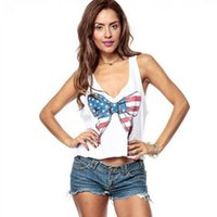 ingrosso camicette grandi archi-Casual White Vest Summer Girl Top Deep V-Neck Big Bows Stampa Love Heart Hollow Out Backless Women Camicetta corta Taglie forti