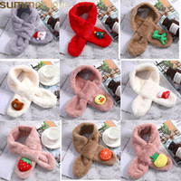 Wholesale cute bear accessories for sale - Group buy Cute Kid Faux Rabbit Fur Scarf Warm Plush Christmas Neckerchief Winter Thicken Pompom Neck Accessories Bear Fruit Shape