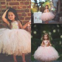 vestidos infantiles de oro del desfile al por mayor-Blush Pink Tutu Toddler Infant Flower Flower Vestidos Sparkly Rose Gold Lentejuelas Little Princess Primera Comunión Concurso Vestidos de boda