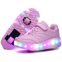 rosa led schuhe kinder großhandel-Zwei Räder leuchtende Turnschuhe Blau Rosa Led Licht Rollschuh Schuhe für Kinder Kinder Led Schuhe Jungen Mädchen Schuhe leuchten Unisex Y19051303