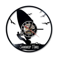 Wholesale surfing decor for sale - Group buy Round Hollow Windsurfing Surfing Ships Vinyl Record Clock Sea Shape Creative Hanging Clock Antique Water Sports Home Decor