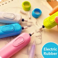 Wholesale drawing eraser resale online - 2019 Electric Eraser With Refill Cute Electronic Pencil Rubber For Kids Painting Drawing Stationery Office School Supplies