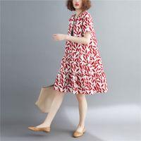 vestidos de flor vermelha chinesa venda por atacado-2019 mulheres vermelhas do vintage cheongsam flor impressão qipao rendas na altura do joelho vestido de festa vestido estilo chinês vestidos de noite qi pao