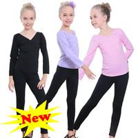 bale giysileri kız toptan satış-Kızlar dans eğitimi giyim jimnastik Latin dans bale dans elbise kızlar için uzun kollu bodysuit iki adet suit