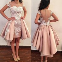 Wholesale lace cocktail dress for sale - 2019 New Pink Sheer Backless Sheath Cocktail Dresses Appliques Cap Sleeves Mini Short Prom Evening Gowns Custom Made with Detachable Train