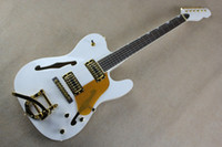 Wholesale body electric guitar wood resale online - F Natural Wood Big Rocker Chrome Hardware Telecaster Semi Hollow Body F Hole Jazz Electric Guitar