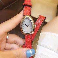 Wholesale unique watch bands resale online - Unique Case Shape Double Spiral Orange Leather Band Quartz Women Watches Ladies Watch Mother Of Pearl Dial