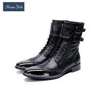 ingrosso marche di stivali a punta per gli uomini-Commercio all'ingrosso Brand New Men Shoes punta punta in metallo cavaliere Boot uomini zapatos de hombre nero stivali da combattimento in vera pelle uomini