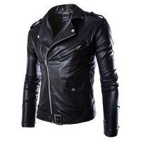 jaquetas estilo motocicleta venda por atacado-Homens Moda PU Leather Jacket Primavera Outono New britânica Estilo Men Leather Jacket Motorcycle Jacket Brasão Masculino Preto L-3XL