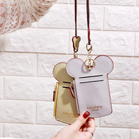 Wholesale cute neck lanyard resale online - Cute Cartoon Ear Letter Happy Dream Coin Pusre with Lanyard Neck Strap Card Holder Purses Name Credit ID Card Bag Party Favor RRA2354