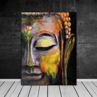Wholesale buddha decor for home resale online - Wall Art Pictures Canvas Painting home decor Wall poster decoration for living room prints vivid Buddha face on canvas no frame
