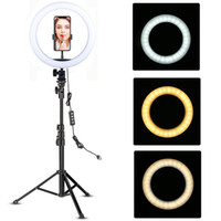 Wholesale phone holder with light online – Youtube Makeup Video Live Shooting LED Ring Light Ring lamp inch with phone holder Tripod Stand Selfie Ringlight Circle Tikok Lamp