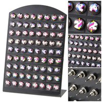 da0b13f5d 36 Pairs New Product Creative Children Cartoon Round Resin Cabochon Flamingos  Stud Earrings Jewelry Women Earing Mixed Lot Bulk