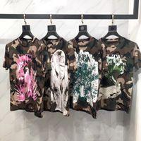 logotipos para animais venda por atacado-Logotipo popular verão nova camuflagem animal letras 3D impressão de manga curta T-shirt moda jaqueta casual homens