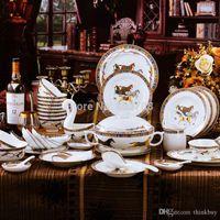 europäischer stil knochen porzellan gesetzt großhandel-Keramik qualität mode 56 stücke + 15 stücke bone china geschirr set geschirr Europäischen stil geschirr A1004 160311 #