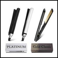 uk-keramik großhandel-V-Gold überzogen Haarglätter Titanplatten Begradigung Ceramic Curling Irons Klassik Haarglätter WM US EU UK-Stecker