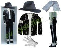schwarze paillettenhüte großhandel-MJ Michael Jackson Billie Jean Anzüge Sequin Jacket + Pants + Hat + Glove + Socken Kinder Erwachsene anzeigen Schwarz Pailletten Pacthwork 4XS-4XL