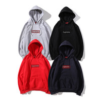 Wholesale men hoodies name brands for sale - Group buy new street hoodie brand men hoodies Top quality hooded Suprême crystal hot drilling BoxLogo th anniversary joint name plus velvet hoodie