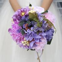 ingrosso fiori artificiali chiari viola-HS BRIDAL Wedding Purple Wedding Flowers 2019 Bouquet da sposa romantico da sposa Holding Flower 2019 Artificial Rose ramo de novia