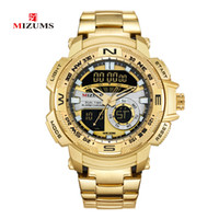 часы двойные цифровые часы оптовых-MIZUMS военные наручные часы LED Цифровые спортивные часы мужчины золото нержавеющая сталь группа двойное время кварцевые часы человек водонепроницаемый Relogio Masculino