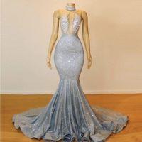 cristais de tecido noite venda por atacado-Sexy faísca tecido Backless Prom vestidos Halter Lace frisada de cristal longo sereia vestidos de noite árabe formal vestidos de festa barato