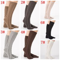 8bb6b0582 Wholesale stockings online - knitting Women Long Boot Socks wool Flower  Boot Cuffs Thigh High Stocking