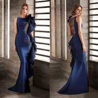 Wholesale blue evening mermaids gowns for sale - Group buy Mermaid Lace Beaded African Evening Dresses Satin Navy Blue Prom Dress Sexy Formal Party Gowns robes de soirée