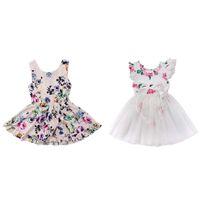 Wholesale fold boat for sale - Group buy Baby Girl Designer Dresses Printed Fold Princess Dress Sleeveless Cotton Blend Round Neck Knee Length A line Skirt