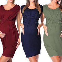 Wholesale sexy hottest dress for women resale online - Hot Sale Maternity Dresses Pregnant Women Sleeveless Bodycon Sexy Solid Dress Props Ropa Premama Clothes For Pregnant Women