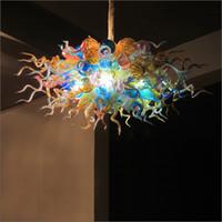 Beautiful Amber Glass Pendant Light Artistic Lighting Hand Blown Glass Modern LED Chandeliers Modern Kitchen Design