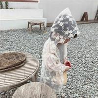 weiße spitze hoodie großhandel-Mädchen Weiße Bluse Strickjacke dünne Hoodie Oberbekleidung Mode Kleidung Lace Sonnenschutz Sommer Moskito-Sonnenschutz-Hemden für Mädchen